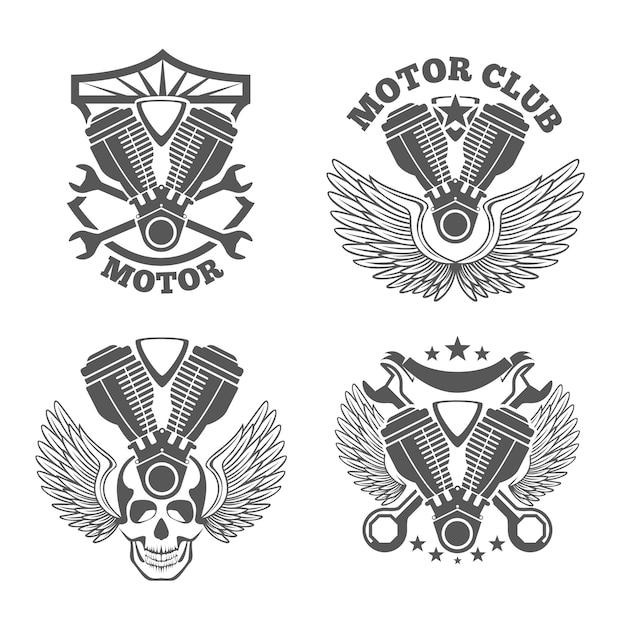 Vintage motorfietsetiketten, badges. motor logo set. moersleutel en motor, schedel en cilinder Premium Vector