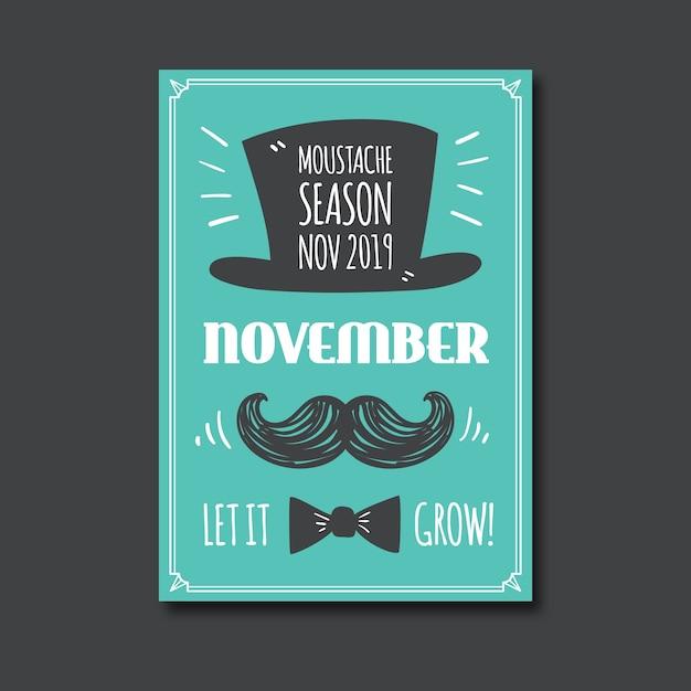 Vintage movember bewustzijn poster sjabloon Gratis Vector