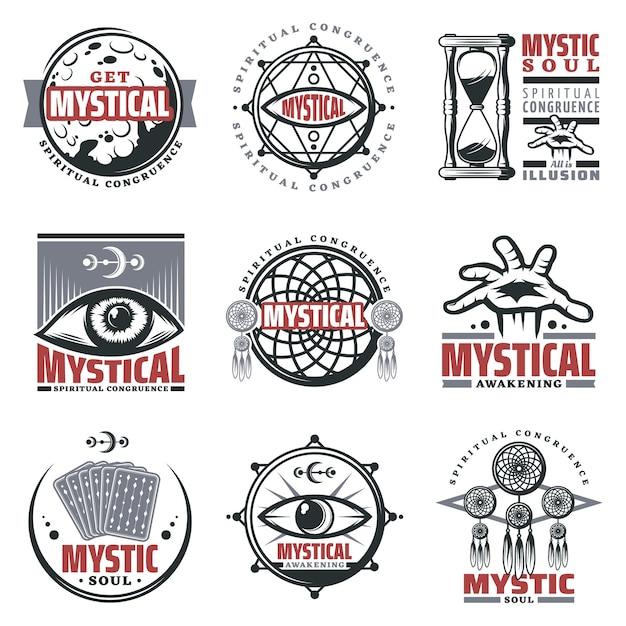 Vintage mystieke spirituele emblemen set met inscripties maan zandloper mystieke symbolen sieraden derde oog tarotkaarten geïsoleerd Gratis Vector