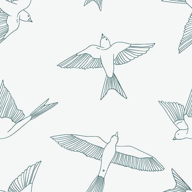 Vintage naadloze patroon met kleine zwaluwen. Premium Vector