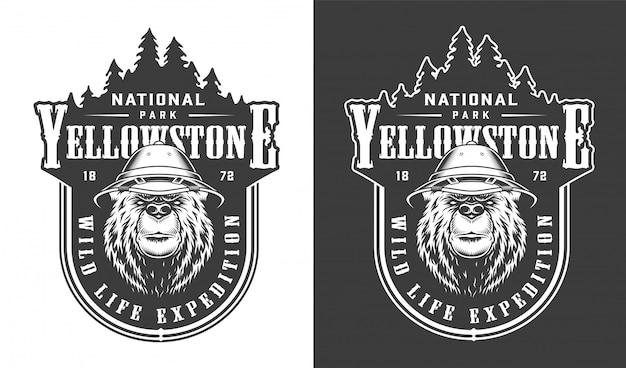 Vintage nationaal park yellowstone label Gratis Vector