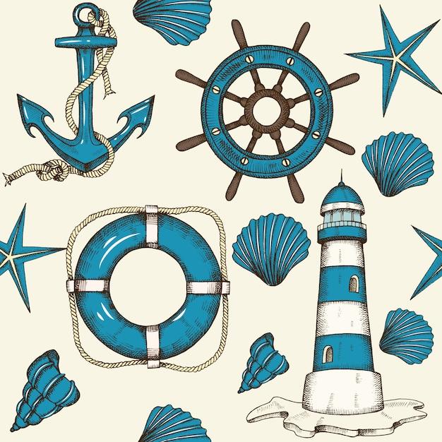 Vintage nautische naadloze patroon met hand getrokken anker, vuurtoren, schelpen, reddingsboei en wiel. Premium Vector