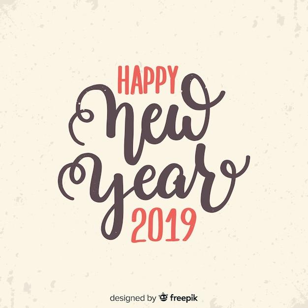 Vintage nieuwjaar 2019 belettering Gratis Vector