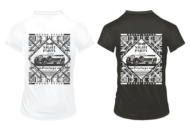 Vintage night party prints sjabloon met inscriptie klassieke auto en geometrische retro sporen op shirts geïsoleerd Gratis Vector