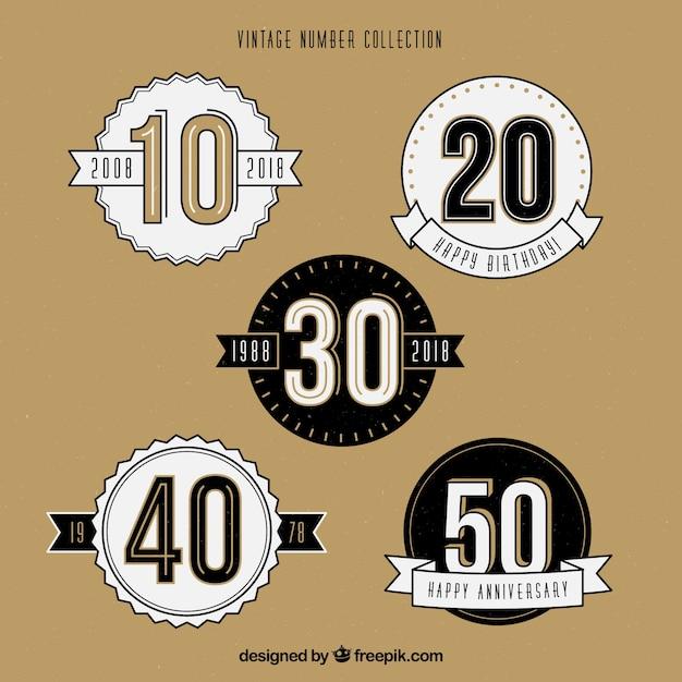 Vintage nummerverzameling Gratis Vector