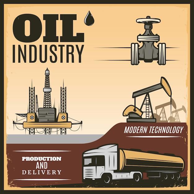 Vintage olie-industrie illustratie Gratis Vector