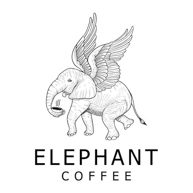Vintage olifant koffie logo ontwerp Premium Vector