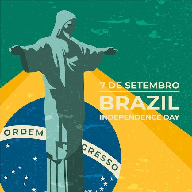 Vintage onafhankelijkheidsdag van brazilië achtergrond Premium Vector