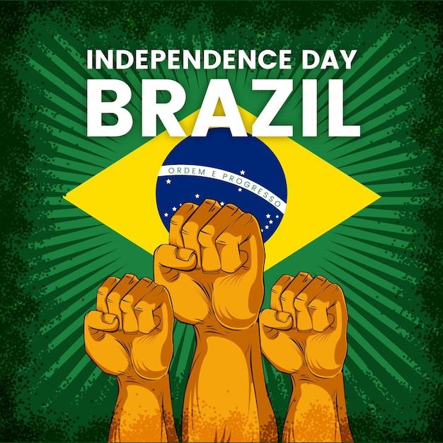 Vintage onafhankelijkheidsdag van brazilië Gratis Vector