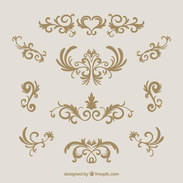 Vintage ornament collectie met gouden stijl Gratis Vector