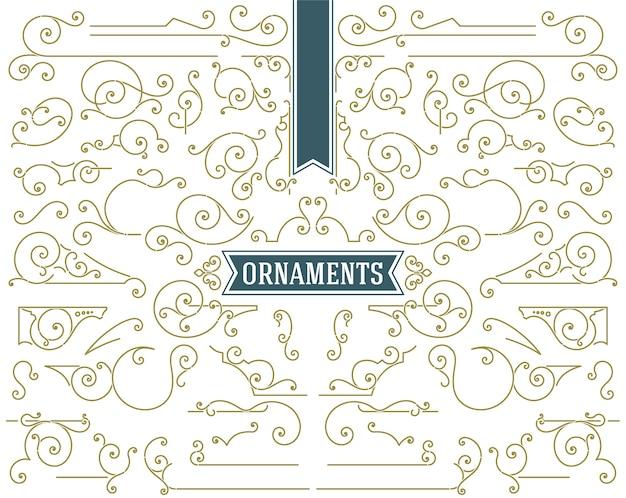 Vintage ornamenten schuift en wervelt decoraties ontwerpset elementen Premium Vector