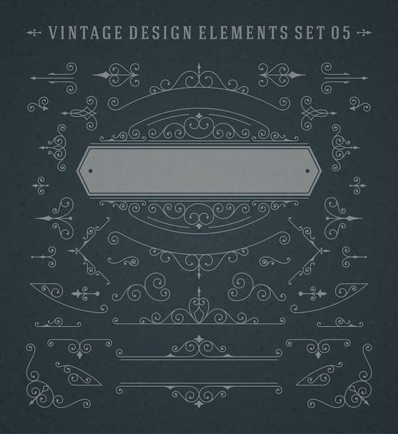 Vintage ornamenten wervelingen en rollen decoraties ontwerpelementen vector set Premium Vector