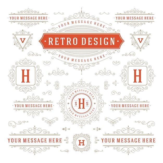 Vintage ornamenten wervelingen en rollen decoraties ontwerpelementen Premium Vector
