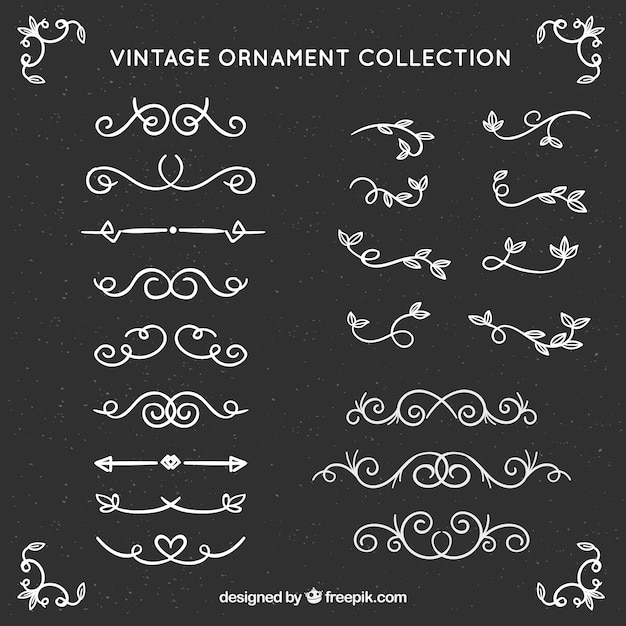 Vintage ornamentinzameling met bordstijl Gratis Vector