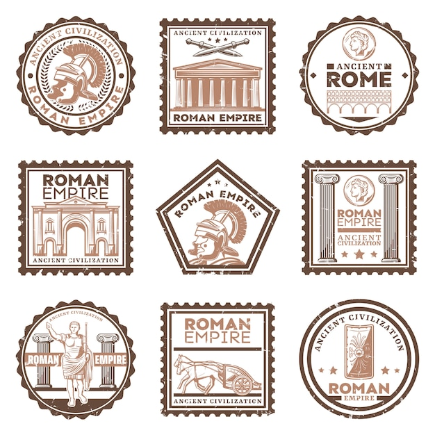 Vintage oude beschavingstempels in rome bezet met inscripties gladiatorzwaarden schild triomfboog Gratis Vector