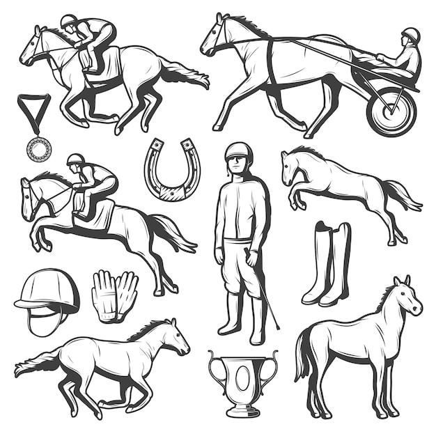 Vintage paardensport elementen collectie Gratis Vector