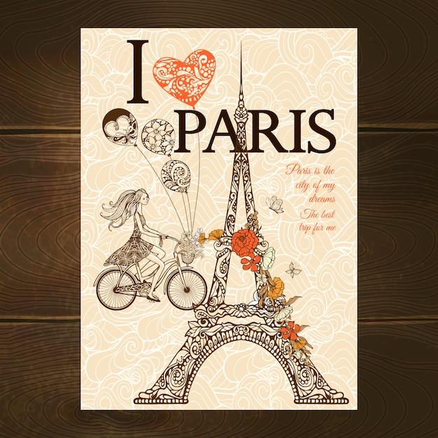 Vintage parijs-poster Gratis Vector