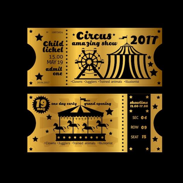 Vintage partijuitnodiging. retro circus carnaval ticket sjabloon. gouden kaartjes geïsoleerd Premium Vector