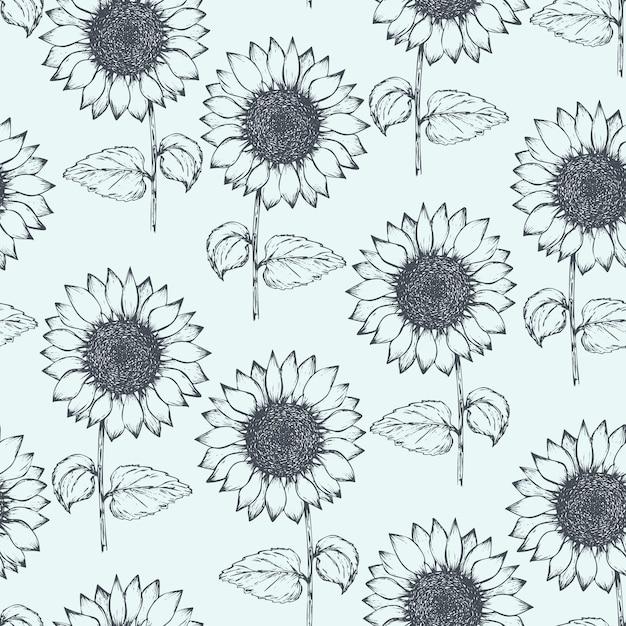 Vintage patroon met overzicht pen zonnebloemen Premium Vector