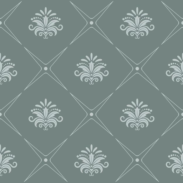 Vintage patroon naadloze barokke stijl in grijze kleur. Gratis Vector