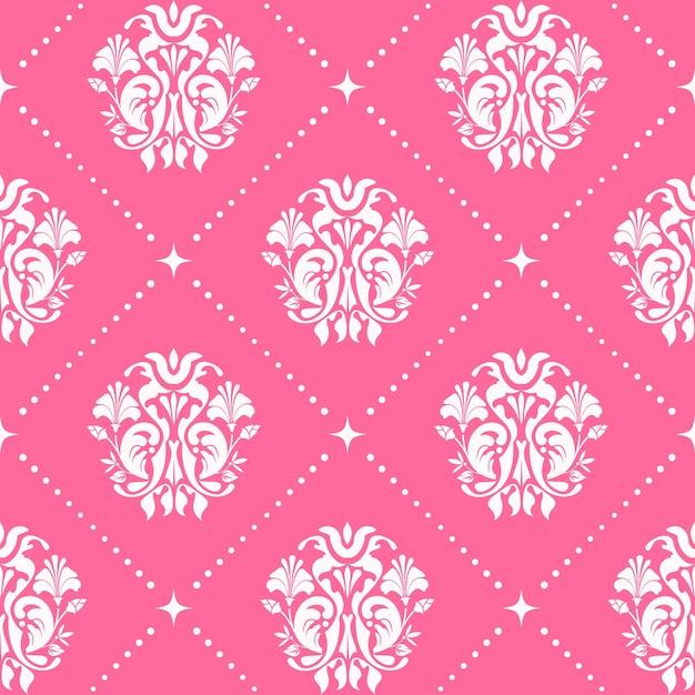 Vintage patroon naadloze barokke stijl in roze kleur. Gratis Vector