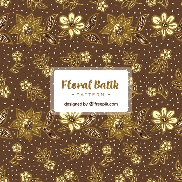 Vintage patroon van batik bloemen Gratis Vector