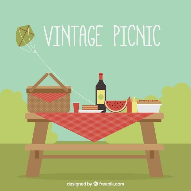Vintage picknick achtergrond Gratis Vector