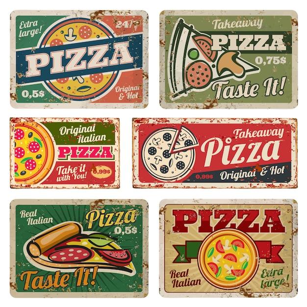 Vintage pizza metalen borden met grunge textuur vector set. retro-voedselaffiches in jaren 50-stijl Premium Vector