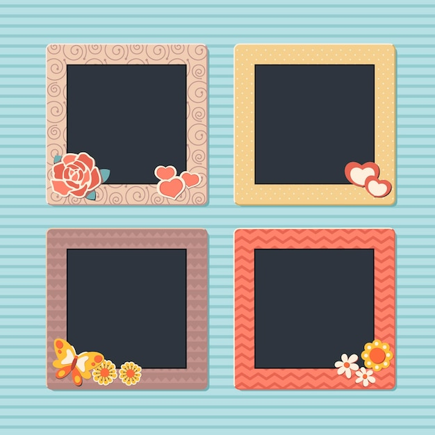 Vintage plakboek frames-collectie Premium Vector