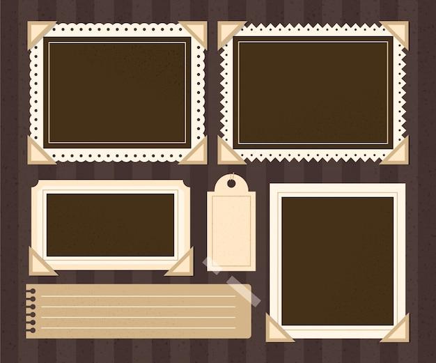 Vintage plakboekframes Premium Vector