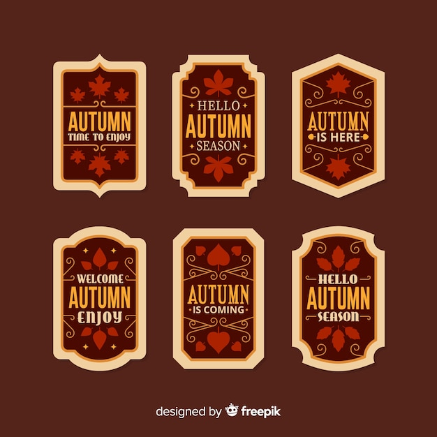 Vintage platte herfst label collectie Gratis Vector