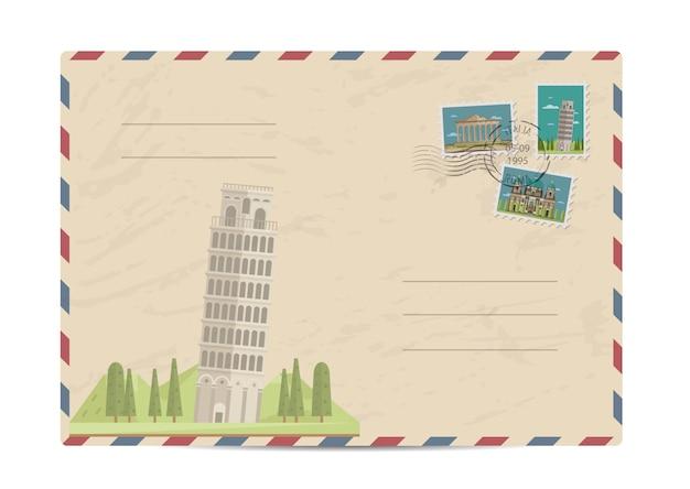 Vintage post envelop met postzegels Premium Vector