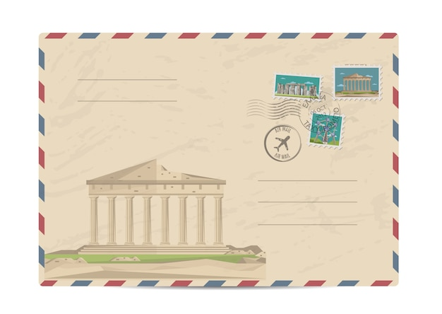 Vintage post envelop met postzegels Premium Vector
