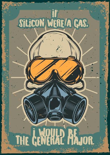 Vintage poster met afbeelding van een schedel met gasmasker en bril Gratis Vector