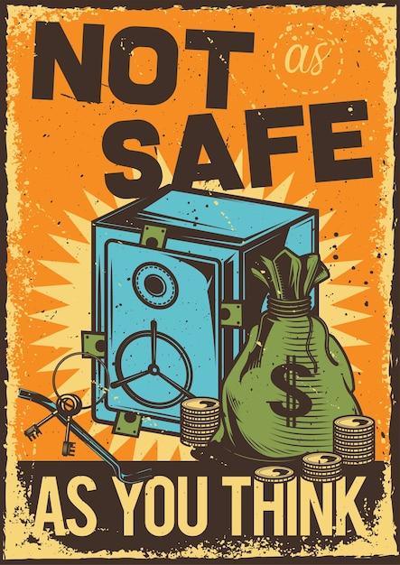 Vintage poster met illustratie van een kluis en een tas met geld Gratis Vector