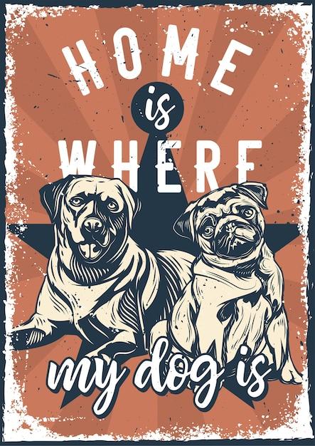 Vintage poster met illustratie van een labrador en een pug Gratis Vector