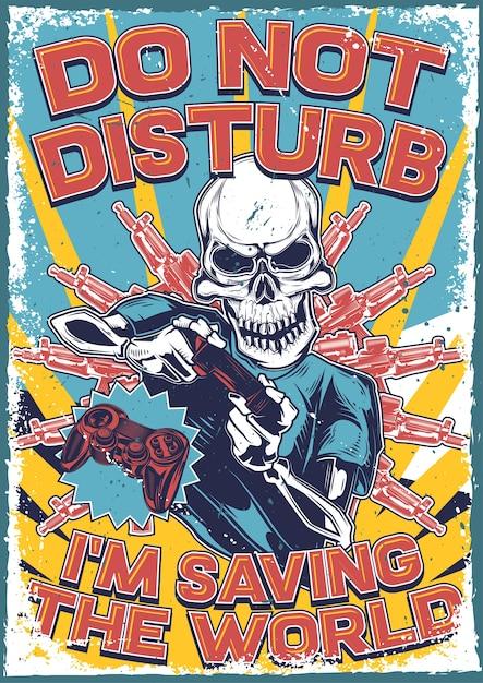 Vintage poster met illustratie van een skelet met een joystick in zijn handen Gratis Vector