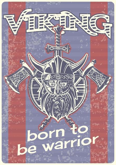 Vintage poster met illustratie van een viking met bijlen en een schild Gratis Vector