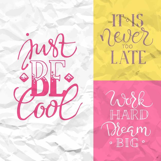 Vintage poster met motivatie citaat op abstracte achtergrond Gratis Vector
