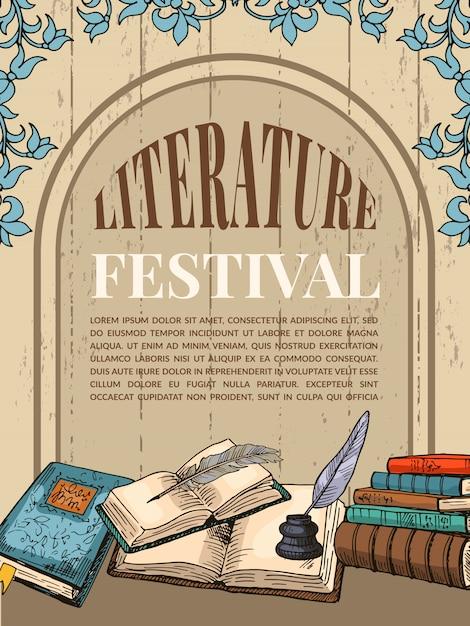 Vintage poster sjabloon met illustraties van handschriftboeken en hulpmiddelen voor schrijvers Premium Vector