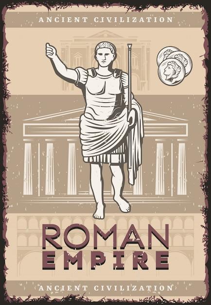 Vintage poster van het romeinse rijk met inscriptie julius caesar munten op gebouwen van de oude beschaving van rome Gratis Vector