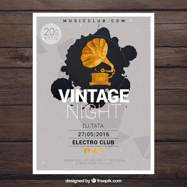 Vintage poster voor een night party Gratis Vector