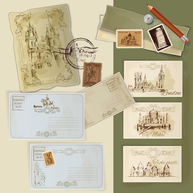 Vintage postkaarten instellen Gratis Vector