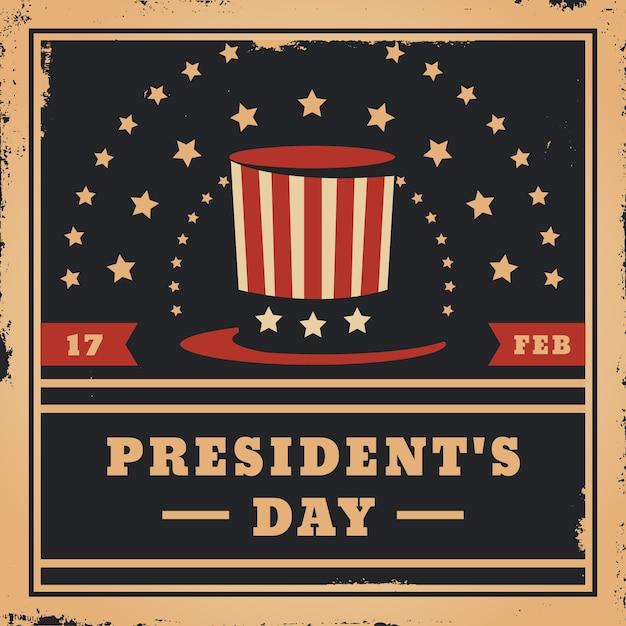 Vintage president's day en hoge hoed met sterren Gratis Vector