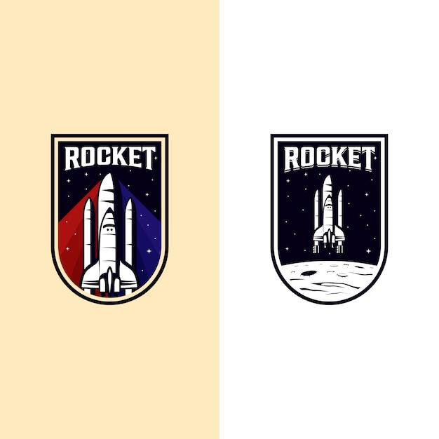 Vintage raket spaceshuttle logo badge illustratie Premium Vector