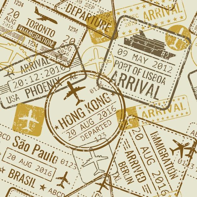 Vintage reizen visum paspoort stempels Premium Vector