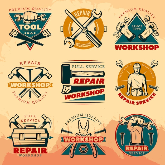 Vintage reparatie werkplaats embleem set Gratis Vector
