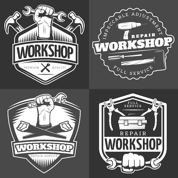 Vintage reparatie workshop badge set Gratis Vector