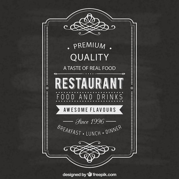 Vintage restaurant label Gratis Vector