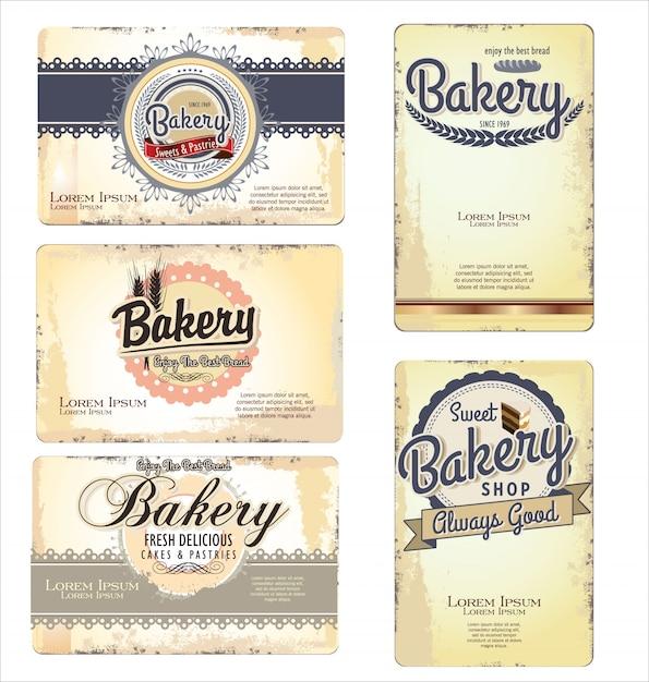 Vintage retro bakkerij etiketten en oud papier Premium Vector